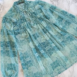 green inspired pintuck blouse size large